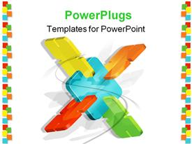 PowerPoint template displaying white background with abstract power plugs of different colors connected