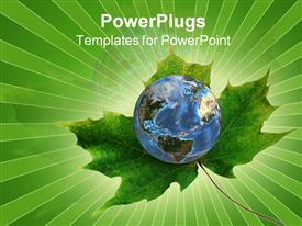 PowerPoint template displaying blue planet Earth rests on a green maple leaf. 3D render