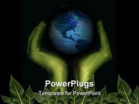 PowerPoint template displaying pair of green hands resting on leaves supporting the planet on black background