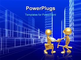 PowerPoint template displaying two gold colored 3D characters shaking hands in agreement