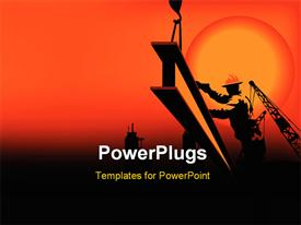 PowerPoint template displaying worker in the sunset between black and orange color