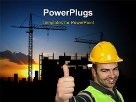 PowerPoint template displaying smiling construction worker wearing protective helmet over construction site with cranes