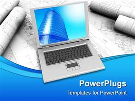 PowerPoint template displaying modern Laptop in the background.