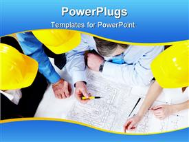 PowerPoint template displaying a number of engineers working on a design