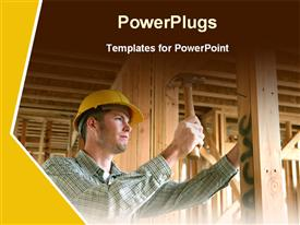 Architect doing construction work with hammer powerpoint template