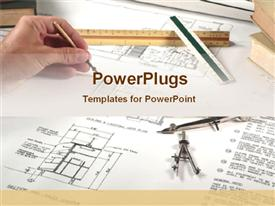 Architect drawing plan for a plot powerpoint template