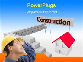 PowerPoint template displaying architect with protective helmet at construction site with 3D house