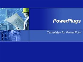 PowerPoint template displaying blue template with blue prints and men in hard hats is ideal for presentations on architecture