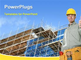 PowerPoint template displaying building construction with an engineer in the background.