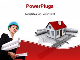 Composition of construction drawings models at home with red roof and calipers powerpoint theme
