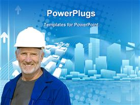 PowerPoint template displaying conceptual city business background with urban cityscape and engineer in the background.