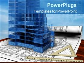 PowerPoint template displaying conceptual depiction of the house blueprint in the background.
