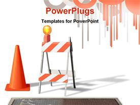 PowerPoint template displaying construction cone & barrier on white in the background.