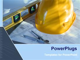 PowerPoint template displaying architecture blue prints with construction instruments and yellow hard hat as a metaphor
