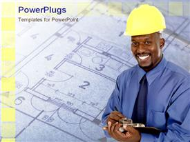 PowerPoint template displaying an engineer smiling with a design in the background