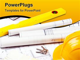 Construction plans and tools placed on plans and papers powerpoint template
