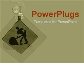 Construction symbol with warning light on green powerpoint design layout