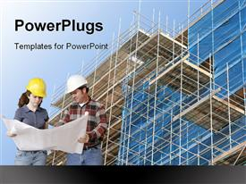 Construction Team With Blueprints powerpoint template