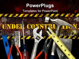 Construction Tools in Pile. Focus on top surface of tools powerpoint design layout