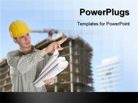 Construction Worker with Building and Crane presentation background