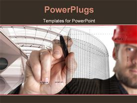 PowerPoint template displaying constructor in a red helmet drawing with a pen in the background.