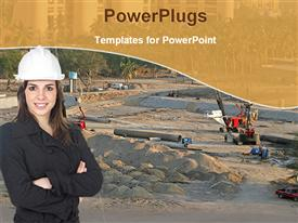 PowerPoint template displaying woman in hard hat and black clothing standing next to construction site