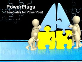 PowerPoint template displaying four white human figures arranging a yellow and blue puzzle