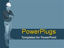 Full shot of construction worker on blue/green powerpoint template