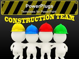 Group of 3D construction workers template for powerpoint