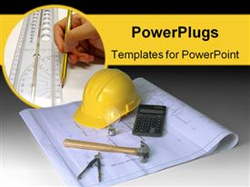 PowerPoint template displaying hard hat, blueprints, hammer, calculator, caliper in the background.
