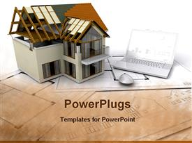 PowerPoint template displaying house under construction on plans with laptop in the background.