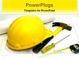 PowerPoint template displaying items used in construction
