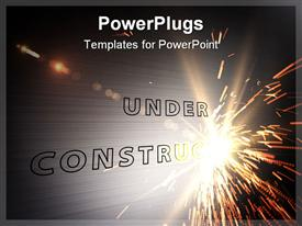 Laser writing under construction on metal plate powerpoint design layout