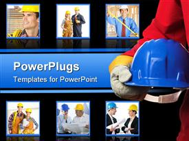 Man holding blue helmet over white close up powerpoint template