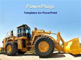 PowerPoint template displaying a powerful bulldozer with no driver in  the driving seat