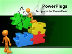 People trying to fit a puzzle piece using a crane powerpoint theme