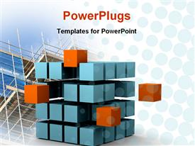 PowerPoint template displaying sliced cube with blue and orange small cubes showing motion and change with glass building construction in the background