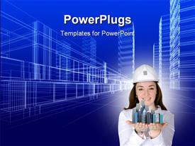 PowerPoint template displaying rendering wireframe of office buildings blue background
