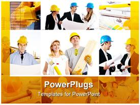 Smiling builders workers. Painter contractor architect. Construction powerpoint theme