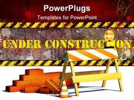 PowerPoint template displaying under construction word with construction site barrier and bricks