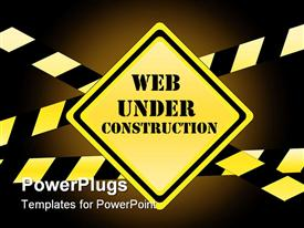 Web under construction - traffic sign with warning tape presentation background