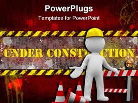 Worker says sorry we are under construction powerpoint theme