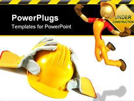 PowerPoint template displaying working yellow helmet and work gloves on a white background