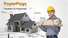 PowerPoint template displaying young man with a safety helmet, a tape measure, holding lots of rolled up blueprints