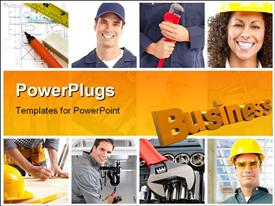 PowerPoint template displaying set of smiling workers and tools. Workers
