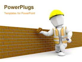 PowerPoint template displaying a construction worker building a wall with white background