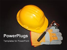 PowerPoint template displaying a bright yellow helmet with gloves on a black surface