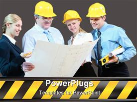 PowerPoint template displaying a group of construction workers looking on a paper