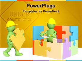 PowerPoint template displaying two green animated human characters building a puzzles house
