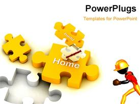 Multi use construction puzzles in white background presentation background